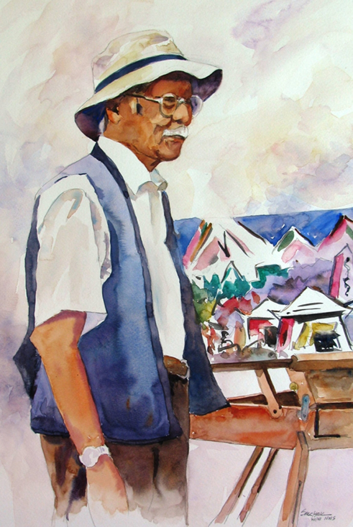 a Watercolor of Henry Fukuhara by John Salchak